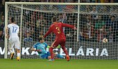 Spain's goalie Iker Casillas looks misses a ball during Euro 2016 qualifing football match between Slovakia and Spain in northern Slovak town of...
