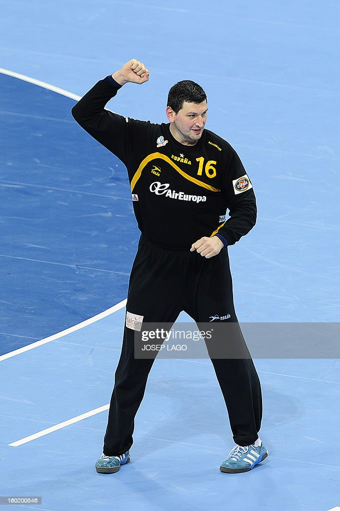 Spain's goalkeeper Arpad Sterbik reacts during the 23rd Men's Handball World Championships final match Spain vs Denmark at the Palau Sant Jordi in Barcelona on January 27, 2013. AFP PHOTO/ JOSEP LAGO