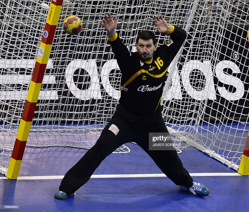Spain's goalkeeper Arpad Sterbik tries to stop a shot during the 23rd Men's Handball World Championships round of 16 match Serbia vs Spain at the Pabellon Principe Felipe in Zaragoza on January 21, 2013.