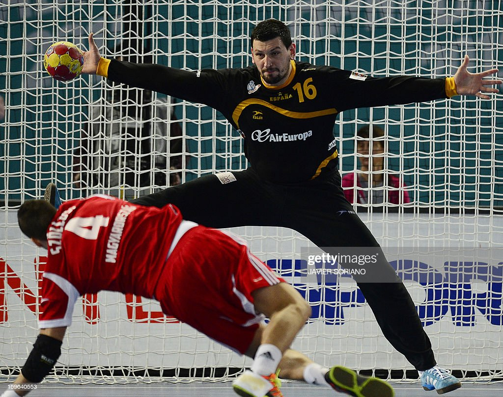 Spain's goalkeeper Arpad Sterbik (L) tries to stop a shot of Hungary's pivot Szabolcs Szollosi during the 23rd Men's Handball World Championships preliminary round Group D match Hungary vs Spain at the Caja Magica in Madrid on January 17, 2013.