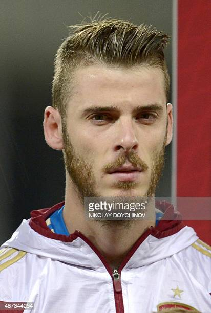 Spain's goalkeeper David de Gea listens to the national anthem prior to the Euro 2016 Group C qualifying football match between Macedonia and Spain...
