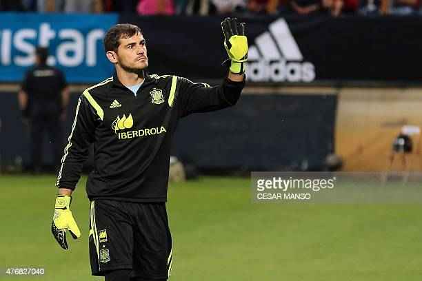 Spain's goalkeeper Iker Casillas greets the crowd before the friendly football match Spain vs Costa Rica at the Reino de Leon stadium in Leon on June...