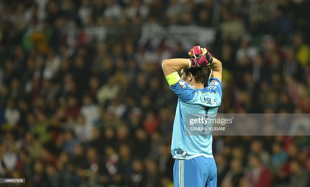 Spain's goalkeeper Iker Casillas reacts during Euro 2016 qualifing football match between Slovakia and Spain in northern Slovak town of Zilina on...