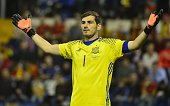 Spain's goalkeeper Iker Casillas reacts during the friendly football match Spain vs England at the Jose Rico Perez stadium in Alicante on November 13...