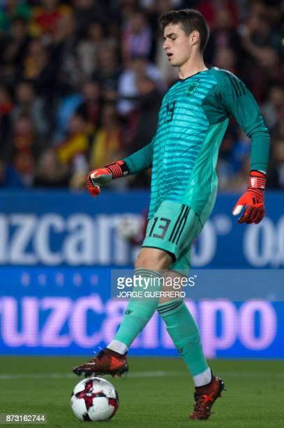 Spain's goalkeeper Kepa Arrizabalaga controls the ball during the FIFA WC2018 friendly football match Spain against Costa Rica at La Rosaleda stadium...