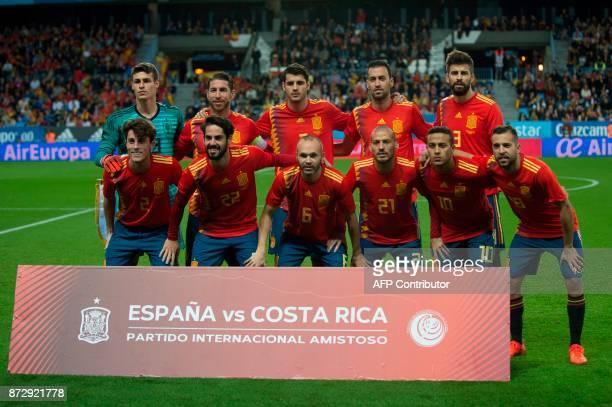 Spain's goalkeeper Kepa Arrizabalaga Spain's defender Sergio Ramos Spain's forward Alvaro Morata Spain's midfielder Sergio Busquets and Spain's...