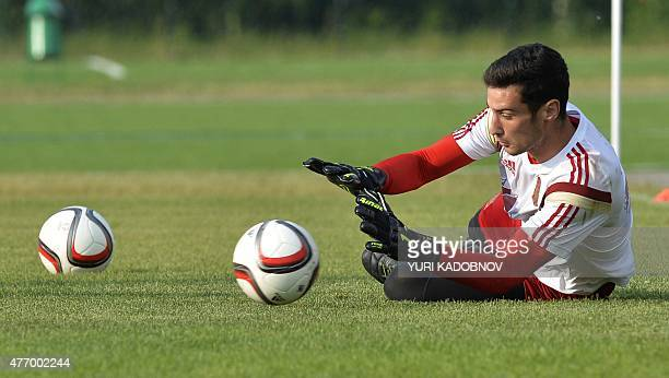 Spain's goalkeeper Sergio Rico takes part in a training session in Minsk on June 13 2015 on the eve of the Euro 2016 group C qualifying football...
