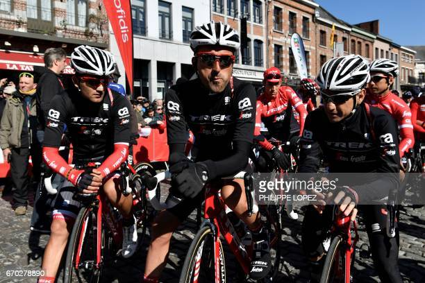 Spain's Haimar Zubeldia from the Trek Segafredo team waits before the Fleche Wallonne cycling race on April 19 2017 going from Binche to Mur de Huy /...