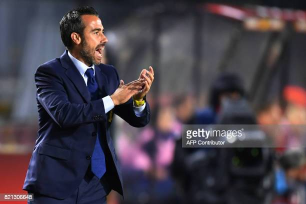 Spain's headcoach Jorge Vilda gestures during the UEFA Womens Euro 2017 football tournament match between England and Spain at Rat Verlegh Stadion in...