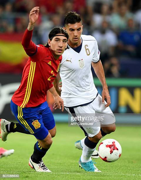 Spain's Hector Bellerin and Italy's Lorenzo Pellegrini vie for the ballduring the UEFA U21 European Championship football semi final match Spain v...
