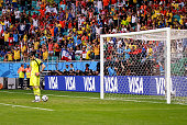 Spain's Iker Casillas #1' griefes the goal suffered making 11 at the 2014 World Cup match between Spain and Netherlands in Salvador Brasil this...