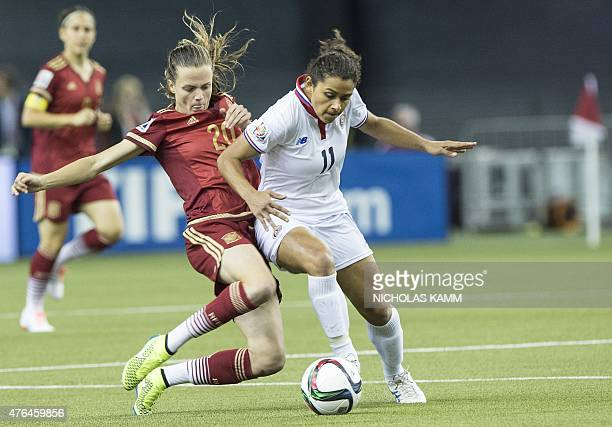 Spain's Irene Paredes tackles Costa Rica's Raquel Rodriguez during a Group E match at the 2015 FIFA Women's World Cup at the Olympic Stadium in...