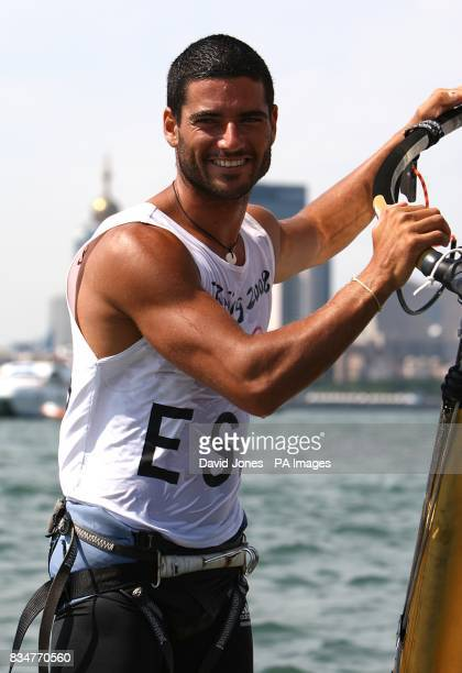 Spain's Ivan Pastor after the final round of his RSX Sailing Competition at the Olympic Games' Sailing Centre in Qingdao on day 12 of the 2008...
