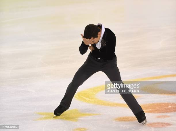 Spain's Javier Fernandez performs a routine during the men's short programme for an event of the Internationaux de France ISU Grand Prix of Figure...