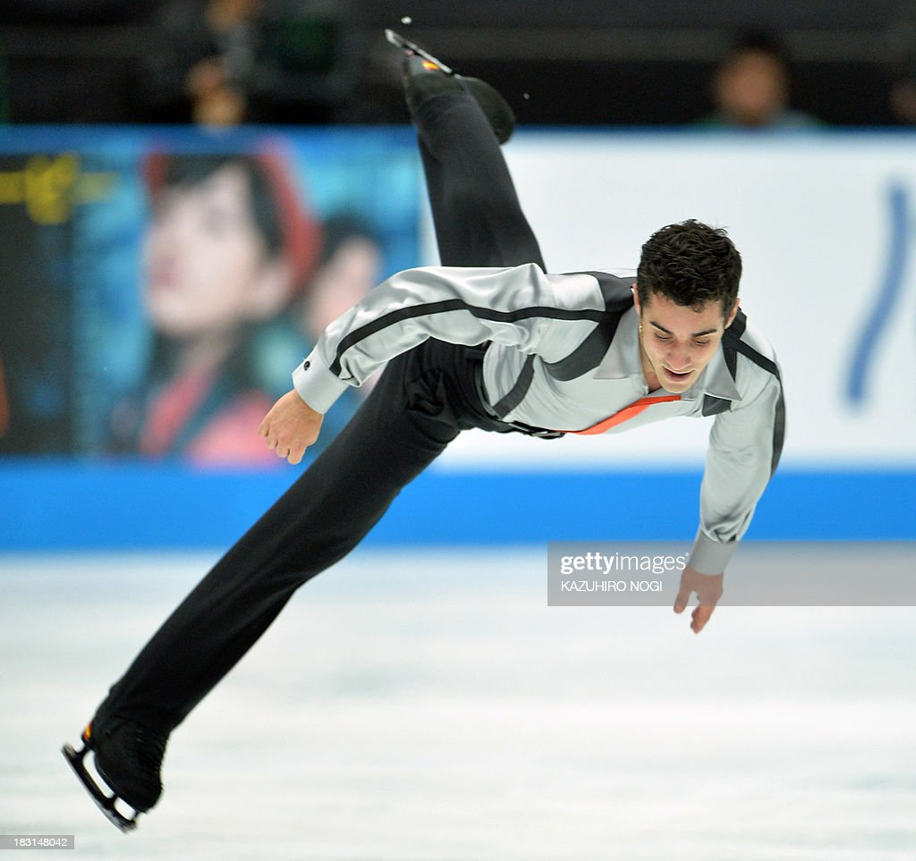 Spain's Javier Fernandez performs in the men's free skating at the Japan Open figure skating competition at Saitama Super Arena in Saitama on October 5, 2013. Fernandez finished top score with a 176.91 points in the event.