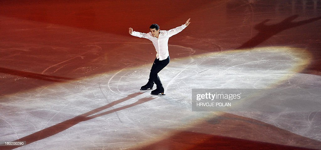 Spain's Javier Fernandez performs on ice at the 'Dom Sportova' sports hall in Zagreb on January 27, 2013 during the gala of the ISU European Figure Skating Championships.