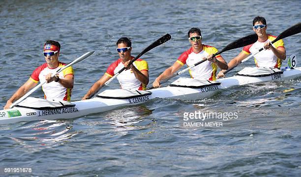 Spain's Javier Hernanz Agueria Spain's Rodrigo Germade Spain's Oscar Carrera and Spain's Inigo Pena compete in the Men's Kayak Four 1000m event at...