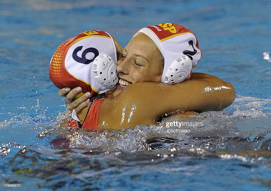 Spain's Jennifer Pareja and Marta Bach celebrate after winning during the women's water polo semifinal match Hungary vs Spain at the FINA World...