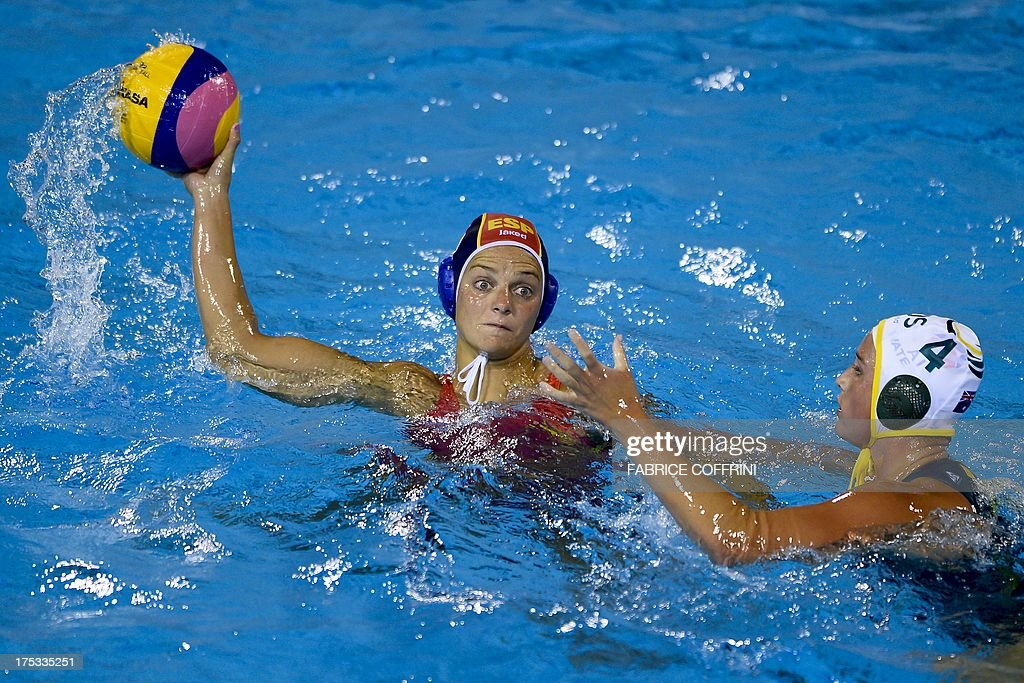 Spain's Jennifer Pareja vies with Australia's Holly LincolnSmith during the gold medal final match between Australia and Spain at the FINA World...