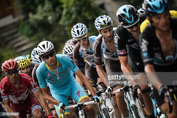 Spain's Joaquim Rodriguez Italy's Fabio Aru France's Romain Bardet France's Mickael Cherel Great Britain's Ian Stannard and Belarus' Vasil Kiryienka...