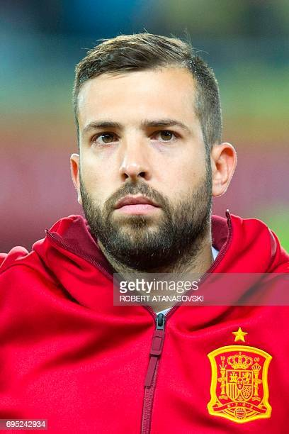 Spain's Jordi Alba looks on prior to the FIFA World Cup 2018 qualifying football match betyween Macedonia and Spain at Philip II of Macedon stadium...