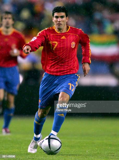Spain's Jose Antonio Reyes dribbles the ball during a World Cup qualifier playoff first leg match between Spain and Slovakia at the Vicente Calderon...