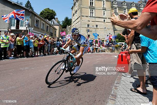 Spain's Juan Antonio Flecha rides during the 218 km twelfth stage of the 100th edition of the Tour de France cycling race on July 11 2013 between...