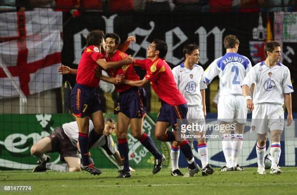 Spain's Juan Carlos Valeron celebrates scoring the opening goal of the game