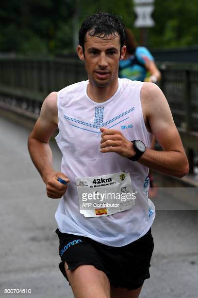 Spain's Kilian Jornet Burgada competes to win the 15th edition of the Marathon of MontBlanc on June 25 in Chamonix The Marathon of MontBlanc is an...