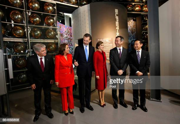 Spain's King Felipe Queen Letizia and other Spanish delagates are welcomed by executive director of the museum and former astronaut Mamoru Mori and...