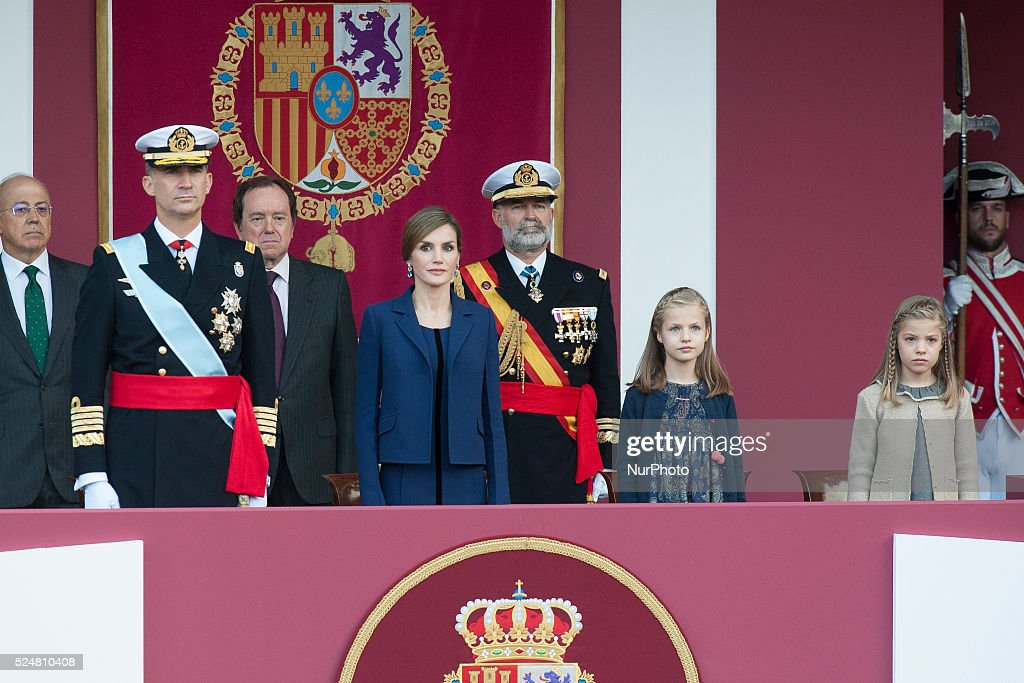 Spain's King Felipe, Queen Letizia , and their daughters Princesses Leonor and Sofia attend the army parade to mark Spain's National Day in Madrid, Spain on October 12, 2015