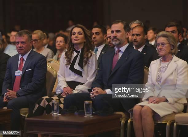 Spain's King Felipe VI and King Abdullah II bin alHussein of Jordan attend World Economic Forum regional meeting in Amman Jordan on May 20 2017