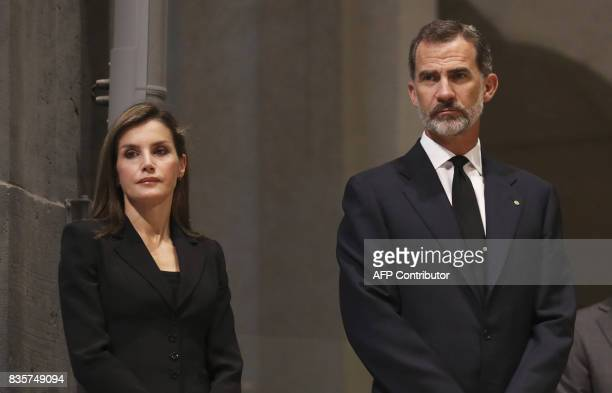 Spain's King Felipe VI and Spain's Queen Letizia attend a mass to commemorate victims of two devastating terror attacks in Barcelona and Cambrils at...