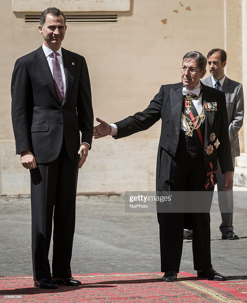 Spain's King Felipe VI arrives at the Apostolic Palace to attend a a ceremony to give Pope Francis the International Charlemagne Prize in Vatican City, Vatican on May 06, 2016. The Charlemagne Prize is one of the most prestigious European prizes. Pope Francis was selected to be the 2016 recipient of Germany's Charlemagne Prize for his commitment in promoting European unity.
