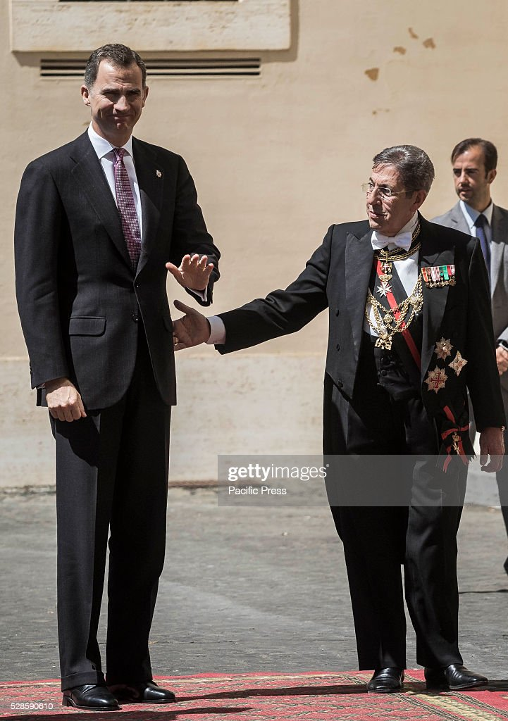Spain's King Felipe VI arrives at the Apostolic Palace to attend a a ceremony to give Pope Francis the International Charlemagne Prize. The Charlemagne Prize is one of the most prestigious European prizes. Pope Francis was selected to be the 2016 recipient of Germany's Charlemagne Prize for his commitment in promoting European unity.