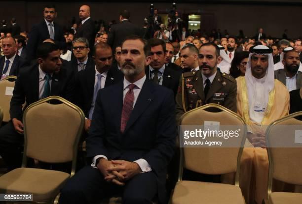 Spain's King Felipe VI attends World Economic Forum regional meeting in Amman Jordan on May 20 2017