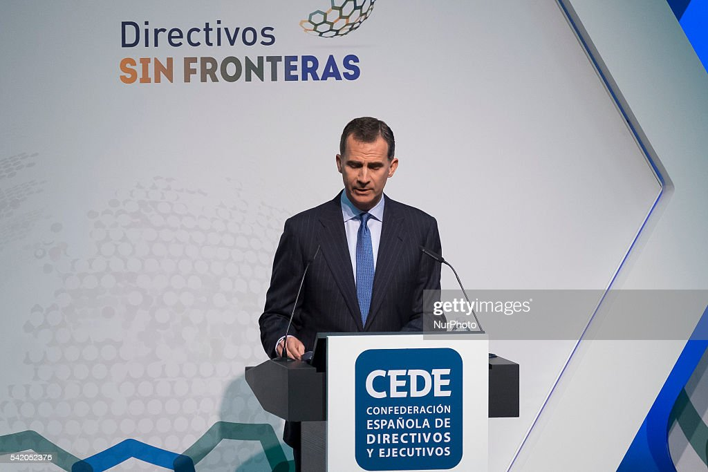 Spain's King Felipe VI gives a speech during the closing ceremony of the Spanish Confederation of Executives and Managers congress held at IFEMA...