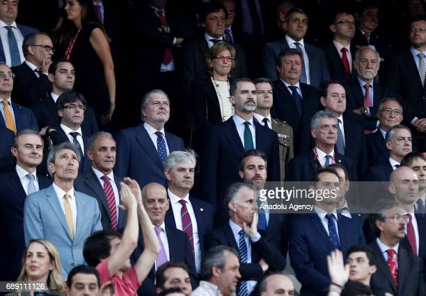 Spain's King Felipe VI is seen during the Copa Del Rey Final between FC Barcelona and Deportivo Alaves at Vicente Calderon Stadium on May 27 2017 in...