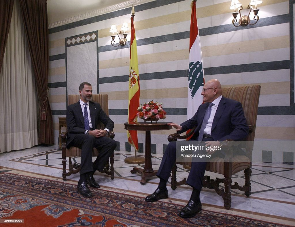 Spain's King Felipe VI (L) meets with Lebanese Prime Minister <a gi-track='captionPersonalityLinkClicked' href=/galleries/search?phrase=Tammam+Salam&family=editorial&specificpeople=5769198 ng-click='$event.stopPropagation()'>Tammam Salam</a> (R) at Prime Ministry building in Beirut, Lebanon on April 07, 2015.