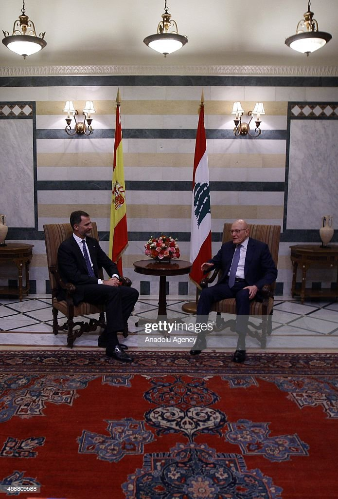 Spain's King Felipe VI (L) meets with Lebanese Prime Minister Tammam Salam (R) at Prime Ministry building in Beirut, Lebanon on April 07, 2015.
