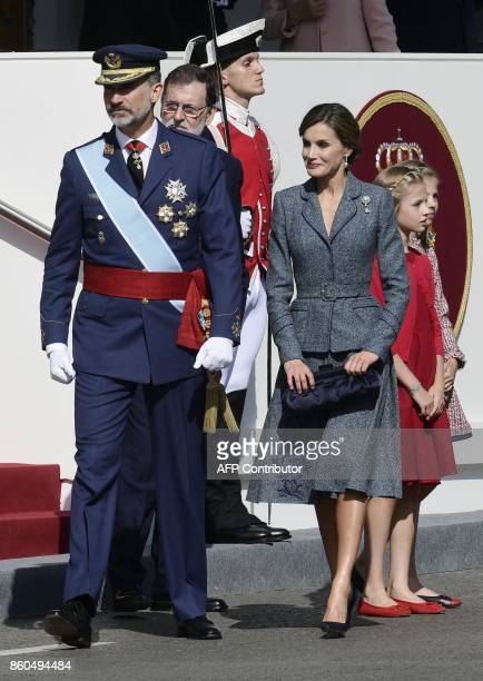 Spain's King Felipe VI Prime Minister Mariano Rajoy Spain's Queen Letizia Spain's princess Leonor and princess Sofia leave after attending the...
