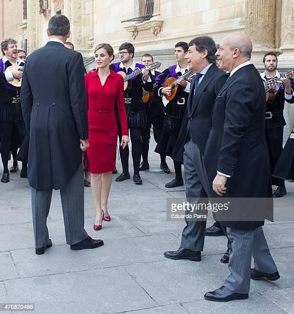 Spain's King Felipe VI Queen Letizia President of Madrid Ignacio Gonzalez and Minister of Cultuer Jose Ignacio Wert listen to local musicians as they...