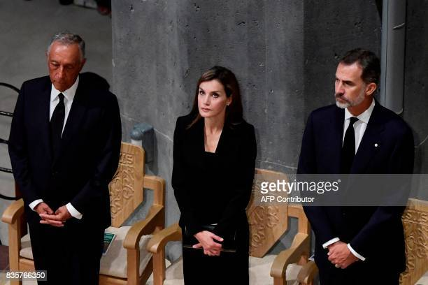 Spain's King Felipe VI Spain's Queen Letizia and Portugal's President Marcelo Rebelo de Sousa attend a mass to commemorate victims of two devastating...