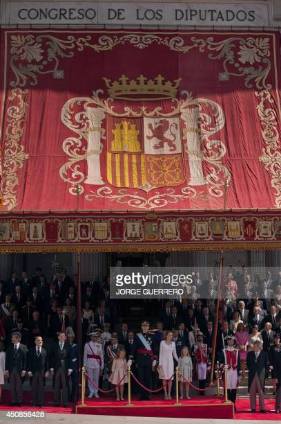 Spain's King Felipe VI Spain's Queen Letizia and Spanish Crown Princess of Asturias Leonor review troop at the Congress of Deputies Spain's lower...