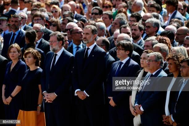 TOPSHOT Spain's King Felipe VI Spanish Prime Minister Mariano Rajoy President of Catalonia Carles Puigdemont Spanish vicePresident of the Government...