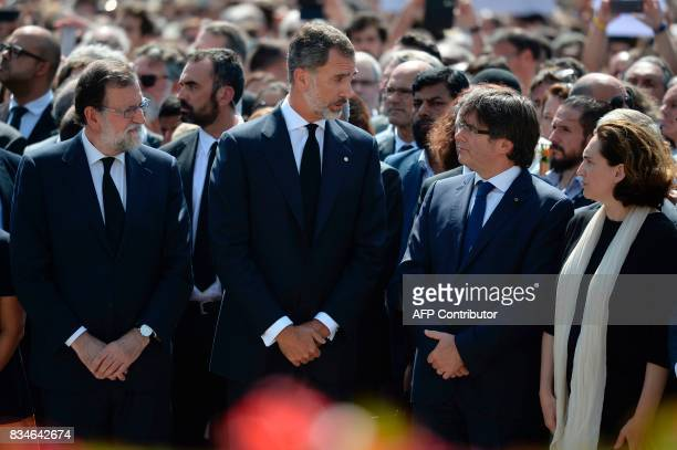 Spain's King Felipe VI Spanish Prime Minister Mariano Rajoy President of Catalonia Carles Puigdemont and Barcelona's mayor Ada Colau speak after...