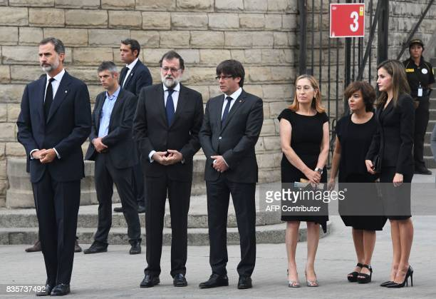 Spain's King Felipe VI Spanish Prime Minister Mariano Rajoy President of Catalonia Carles Puigdemont Spanish vicePresident of the Government and...