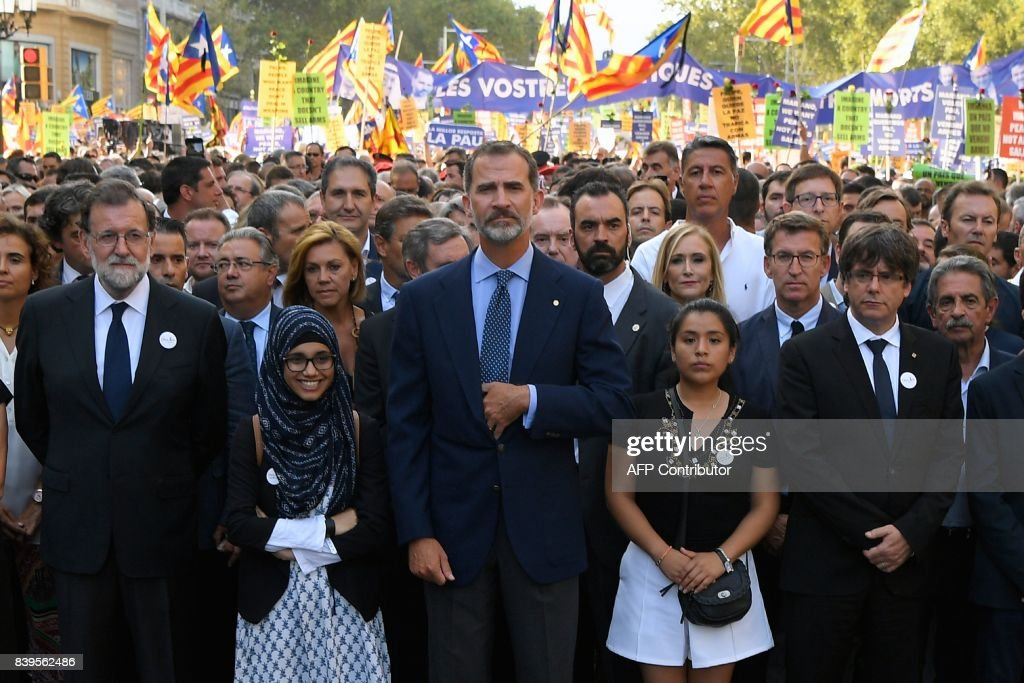 'No Tinc Por' Anti Terrorism Demontration In Barcelona