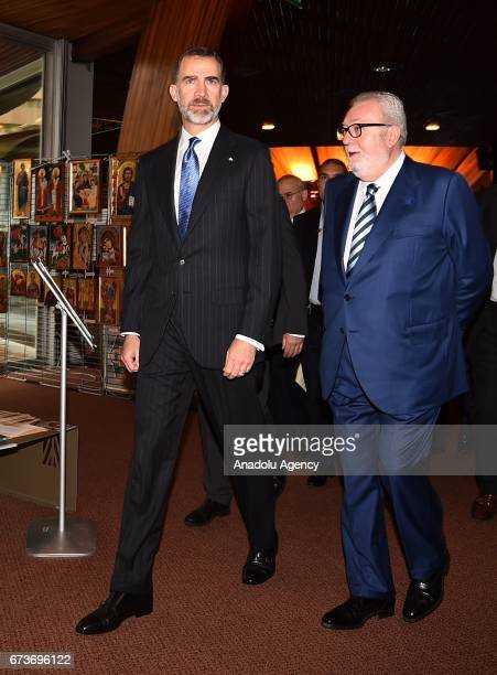 Spain's King Felipe VI visits the Parliamentary Assembly of the Council of Europe in Strasbourg France on April 27 2017