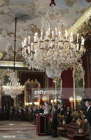 Spain's King Juan Carlos delivers a speech during the Pascua Militar ceremony at the Royal Palace in Madrid on January 6 2013 AFP PHOTO / POOL /...